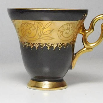Black and Gold Filigree China Tea Cup Arnart Creations Japan Replacement Dishes Vintage No Chips or Breaks
