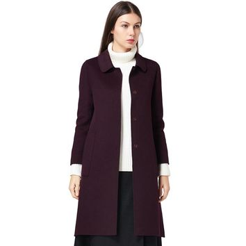 Winter Coats for Women 100% Wool Red Purple Jackets Pockets Slim New 2017 Overcoats Real Wool Trench Coats Elegant 100% Wool