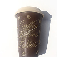 Coffee Before Talkie Glitter Coffee Mug - To Go Coffee Cup - Gold Glitter - Coffee Beans