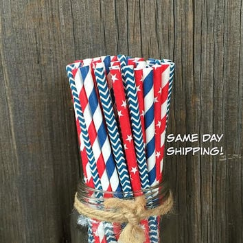 100 Red, White and Blue Striped, Chevron and Stars Paper Straws - Patriotic or Baseball Party Supply, Picnic Supply