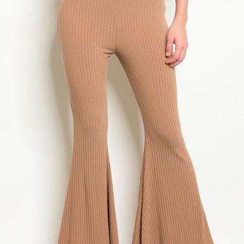 Taupe RIbbed Flair Pants For accentuating curves