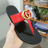 GUCCI Women Fashion Leather Slipper Sandals Shoes