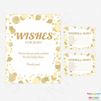 Gold Baby Shower Wishes for Baby Card & Sign, Wishes for Baby Printable, Baby Shower Wish Cards Boy Girl, Instant Download CB0003-g