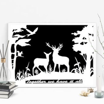 Paper Cut Out - Stag Papercut - Personalized Gift - 1st Year Anniversary - Gift Idea For Couple - Traditional Gifts - Paper Gift Ideas