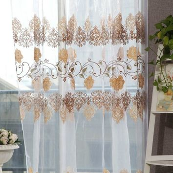Window screening 100 * 200CM offset printing Wear rods Crown Rose curtain  for home decoration