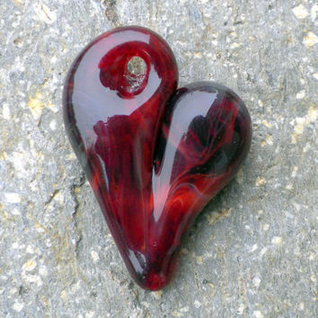 Glass Heart Pendent Classy Red Heart by untamedrose on Etsy