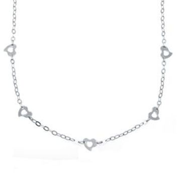 "14k White Gold Heart Link Chain Necklace (16"")-solid gold"