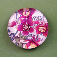 Floral Fuschia and Yellow Orchid Floral Mini Round Glass Paperweight Home Decor
