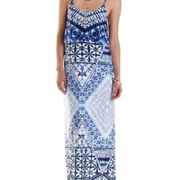 Blue Combo Strappy Mixed Print Flounce Maxi Dress by Charlotte Russe