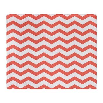 Coral Chevron Stripes Throw Blanket