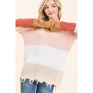 Colorblock Frayed Sweater