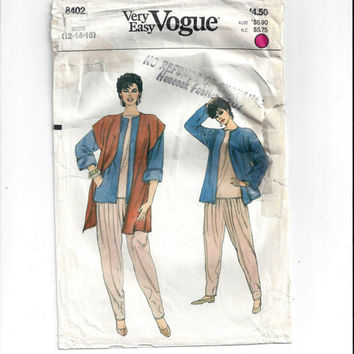 Very Easy Vogue 8402 Pattern for Misses' Jacket, Vest, Pants, Top, Size 12, 14. 16, from 1985, Vintage Pattern, Home Sewing Fashion Pattern