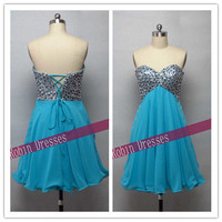 New Custom-made Strapless Sweetheart Short Mini Blue Sequins Homecoming Dresses Prom Dresses Cocktail Dresses