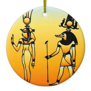 Egyptian Double-Sided Ceramic Round Christmas Ornament