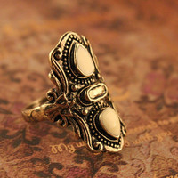 SALE! Medieval Gothic Unisex Bronze Ring With Carved Floral Pattern and White Enamel Teardrops
