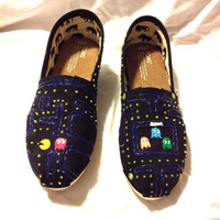 Custom Toms Shoes Pacman Atari Video Game Glow-in-the-Dark Hand Painted Nerd Geek Gamer Toms