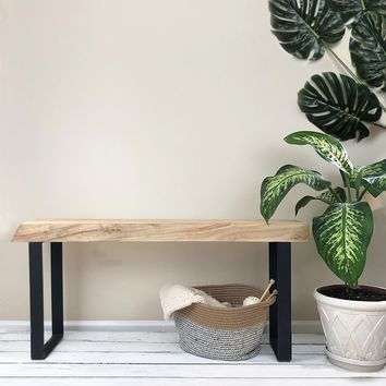 The Foundation Bench - Solid Maple & Steel Entryway Bench