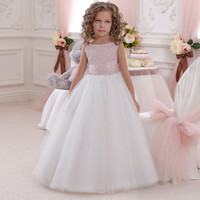 2016 Pink Flower Girl Dress First Communion Dresses Girls Kids Evening Gowns Floor Length Tulle Scoop Sleeveless Pageant Ritzee