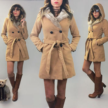 Vintage Tan Faux Fur SOFT Winter Snow Bunny Winter Parka Coat With Large Shawl Collar Hood || Size XS to Small