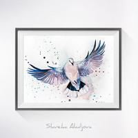 Dove watercolor painting print, Dove art, bird watercolor, Dove illustration, animal art, bird art, bird print, animal watercolor print,