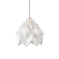 moth origami inspired pendant in white