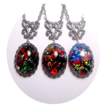 Dragon Egg Fire Opal Necklace
