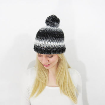 Pom Pom Hat. Chunky Pom Pom Beanie. White Silver Black Beanie. Womens Pom Pom Hat. Womens Winter Hat. Ombre Crochet Hat. Sprakle Beanie Hat.