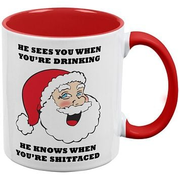 Christmas Santa He Sees You When You're Drinking Red Handle Coffee Mug