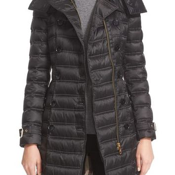 Burberry Chesterford Long Puffer Coat with Genuine Fox Fur Trim | Nordstrom