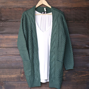 late at night knit cardigan - midnight green