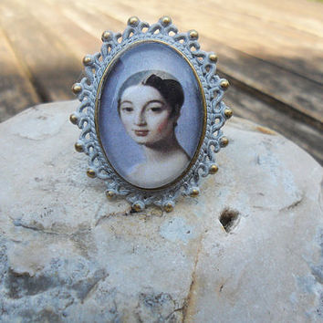 Portrait ring, Mademoiselle Caroline Rivière, white patina, antique bronze, romatic lace ring, adjustable size, statement ring; UK seller