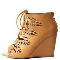 Cognac Laser Cut-Out Lace-Up Wedges by Charlotte Russe