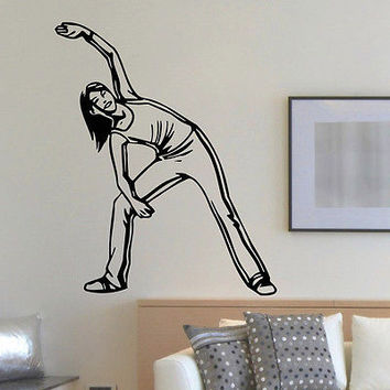 WALL DECAL VINYL STICKER SPORT GYM FITNESS BODY-BUILDING GIRL DECOR SB836