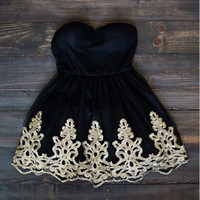 Black Short Gold Embroidery Mini Homecoming Dress