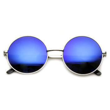 Retro Flash Color Mirror Lens Round Metal Sunglasses 9203