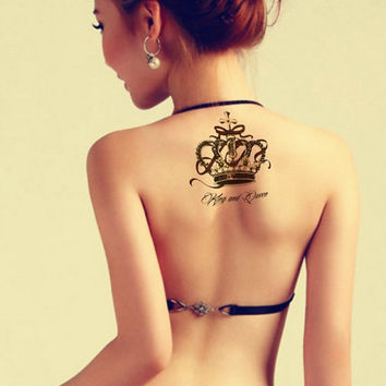 Large Jewel Crown temporary tattoos for back arms legs Waterproof tattoo sticker sexy women men for party photo Halloween tattoos