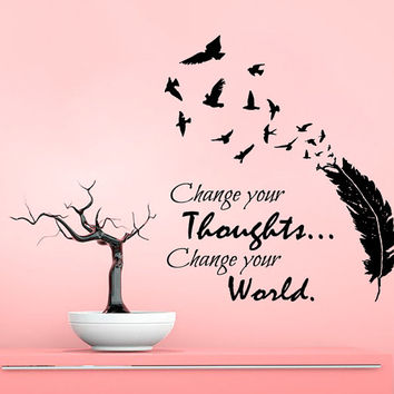 Buddha Wall Decal Quote Change Your Thoughts Change Your World Vinyl Stikers Birds Feather Mural Home Decor Living Room Interior Design KY10