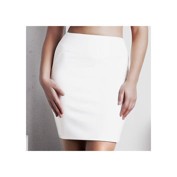 'Rhea' Pencil Skirt - White