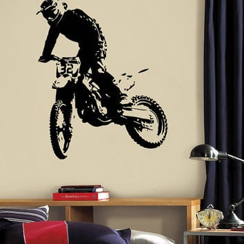 Wall Decal Vinyl Sticker Decals Art Decor Design Dirty Motocross Motorcycle Jumping Moto Sport Extrime Kid Children Cool Gift Bedroom(r1262)