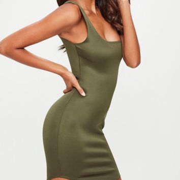 Luxe Square Neck and Back Bodycon Mini Dress