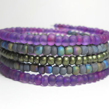 Bohemian Wrap Deep Purple Memory Wire Bracelet