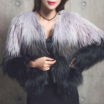 Ombre Shaggy Faux Fur Coat
