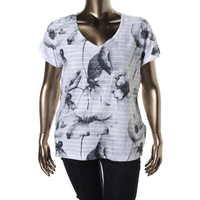 JM Collection Womens Textured Graphic Casual Top
