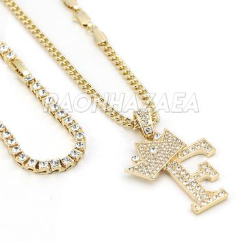 Iced Out Crown F Initial Pendant Necklace Set