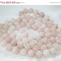 Spring Sale Vintage Pink Quartz Necklace Bead Gemstone 1970s Jewelry
