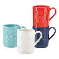 kate spade new york 'all in good taste' 'words' stackable ceramic mugs (set of 4) | Nordstrom