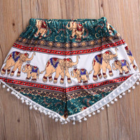 Elephant Print Beach Shorts
