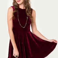 Wine Country Burgundy Velvet Dress