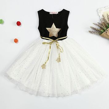 Fashion Sequin Dress Girl Summer Star Prints Dress Childrem's Clothing Princess Kids Party Costume Sleeveless Casual Dress