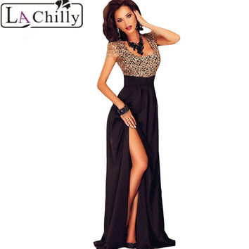 La Chilly Elegant vestidos Embroidery dresses vestido de festa 2017 Amazing Gold Lace Overlay Slit Maxi Evening Gown LC60809